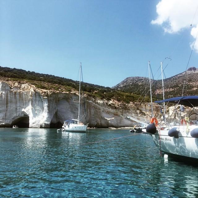 Zasypuj widokami z wyspy Milos  dzie dobry sobota